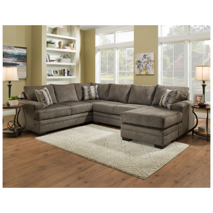 Fitzgerald Furniture CORNELL PEWTER 3PC SECTIONAL