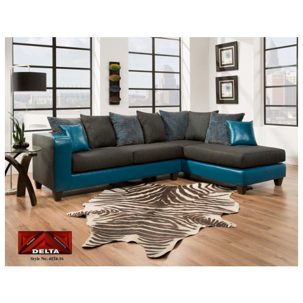 Fitzgerald Furniture CL TAMPA TEAL 2PC SECTIONAL
